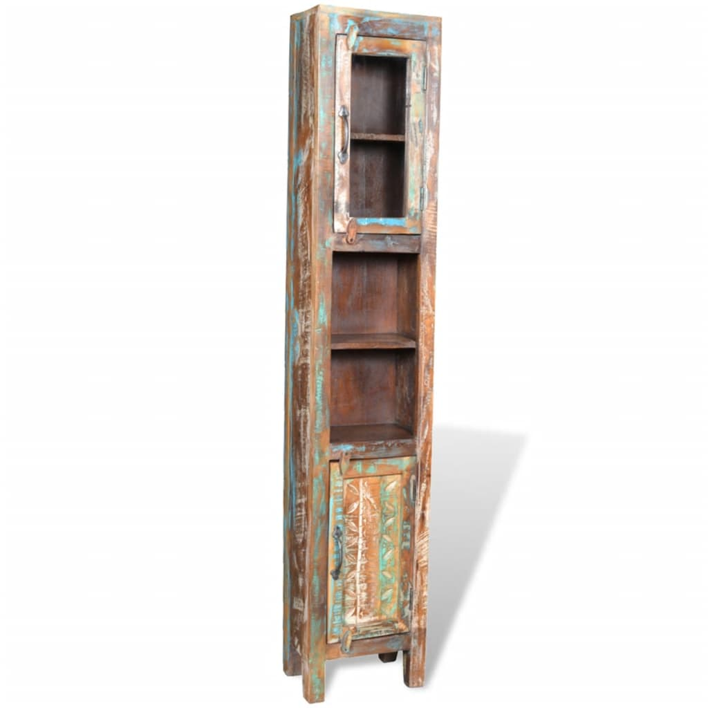 Reclaimed Solid Wood Vanity Cabinet Set with Mirror & 2 Side Cabinets 9