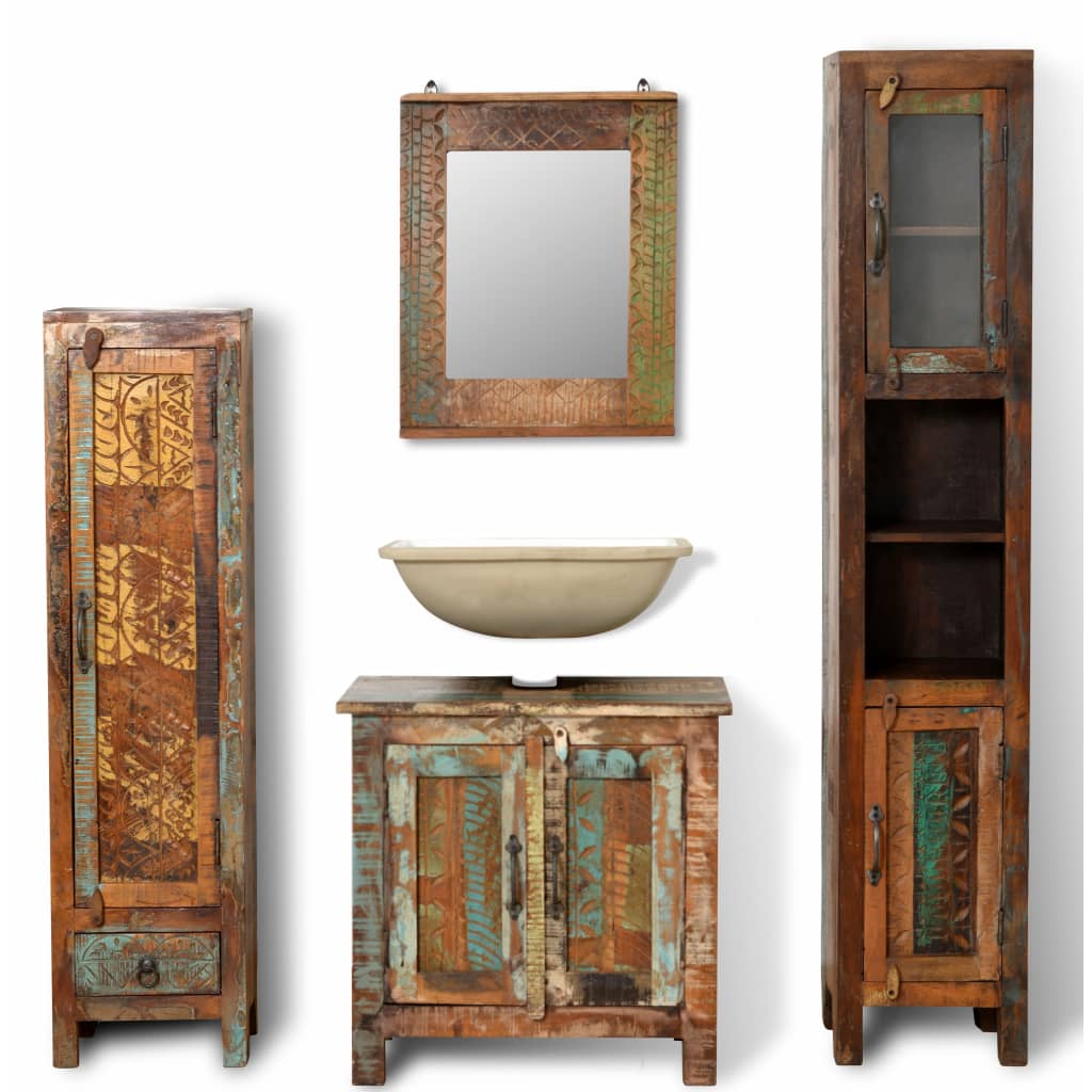 Reclaimed Solid Wood Vanity Cabinet Set with Mirror & 2 Side Cabinets 1