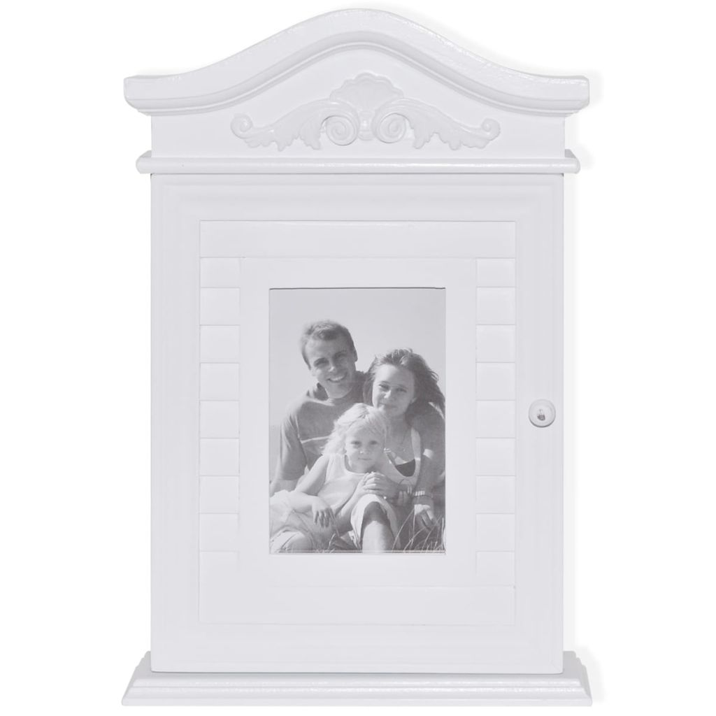 Key Cabinet with Photo Frame White 3