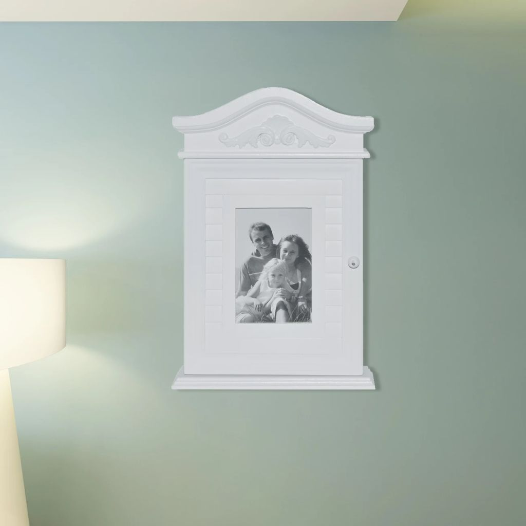 Key Cabinet with Photo Frame White 1