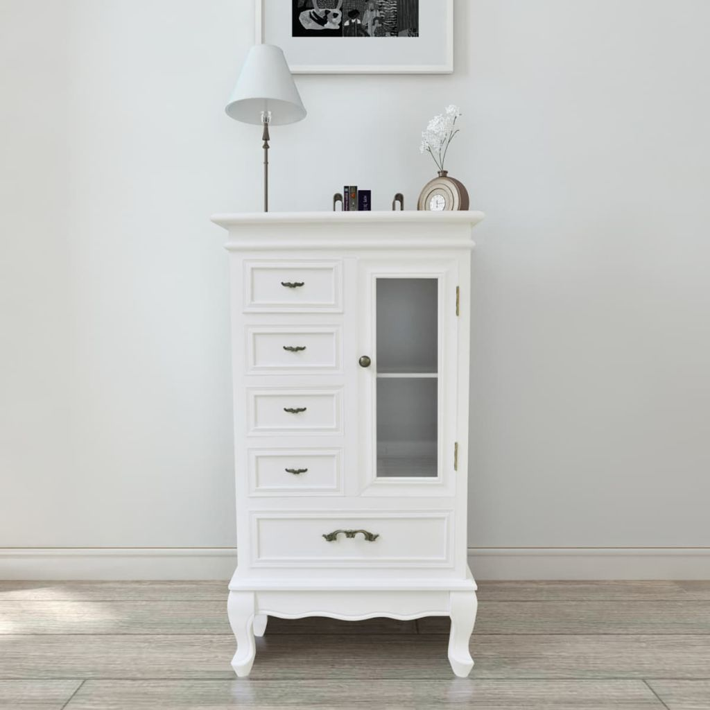 Cabinet with 5 Drawers 2 Shelves White
