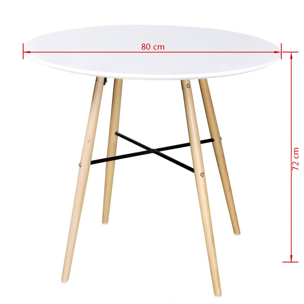 Dining Table MDF Round White 3