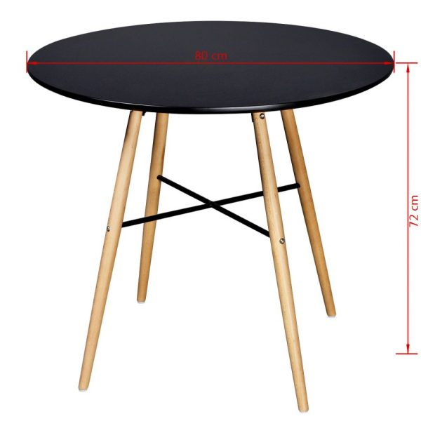Dining Table MDF Round Black 3