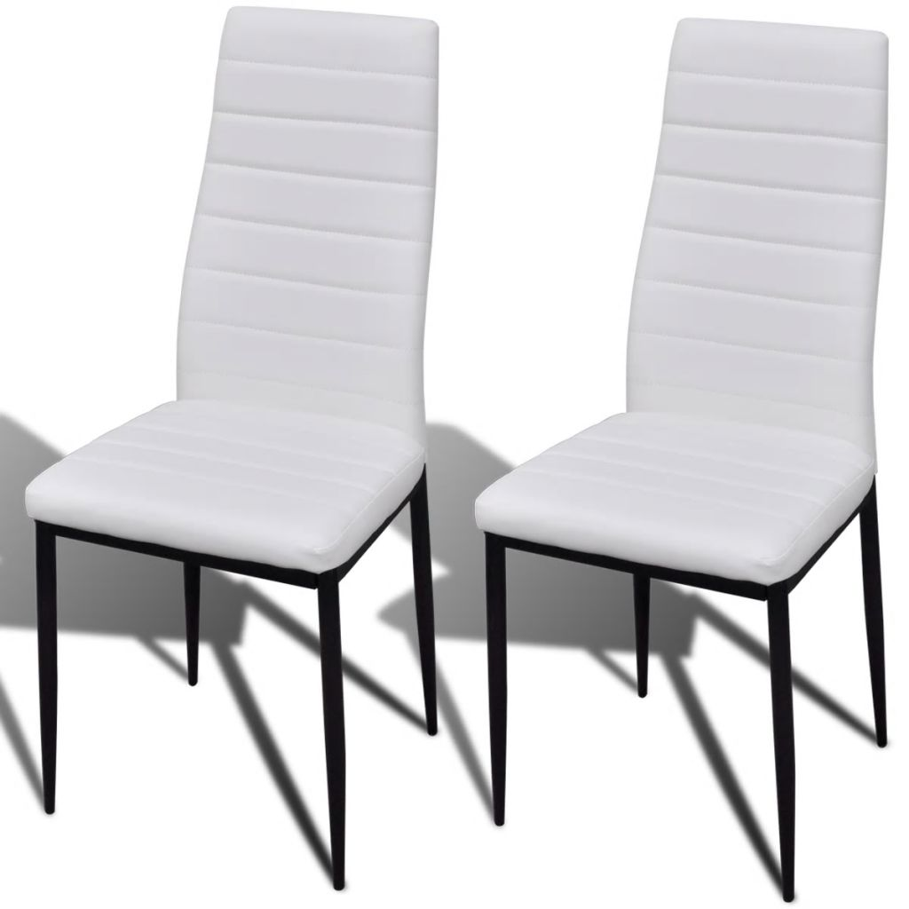 Dining Chairs 2 pcs White Faux Leather 2