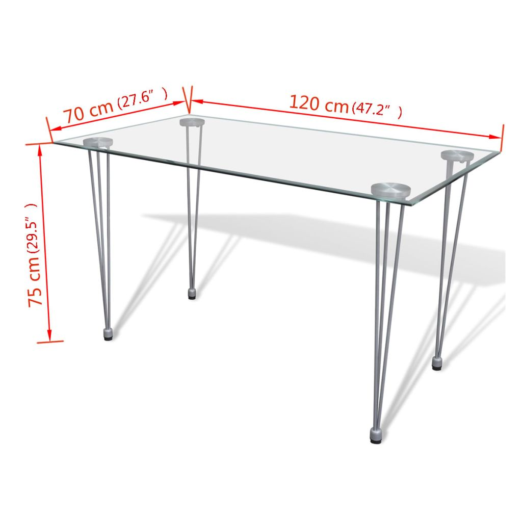 Dining Table with Glass Top Transparent 4