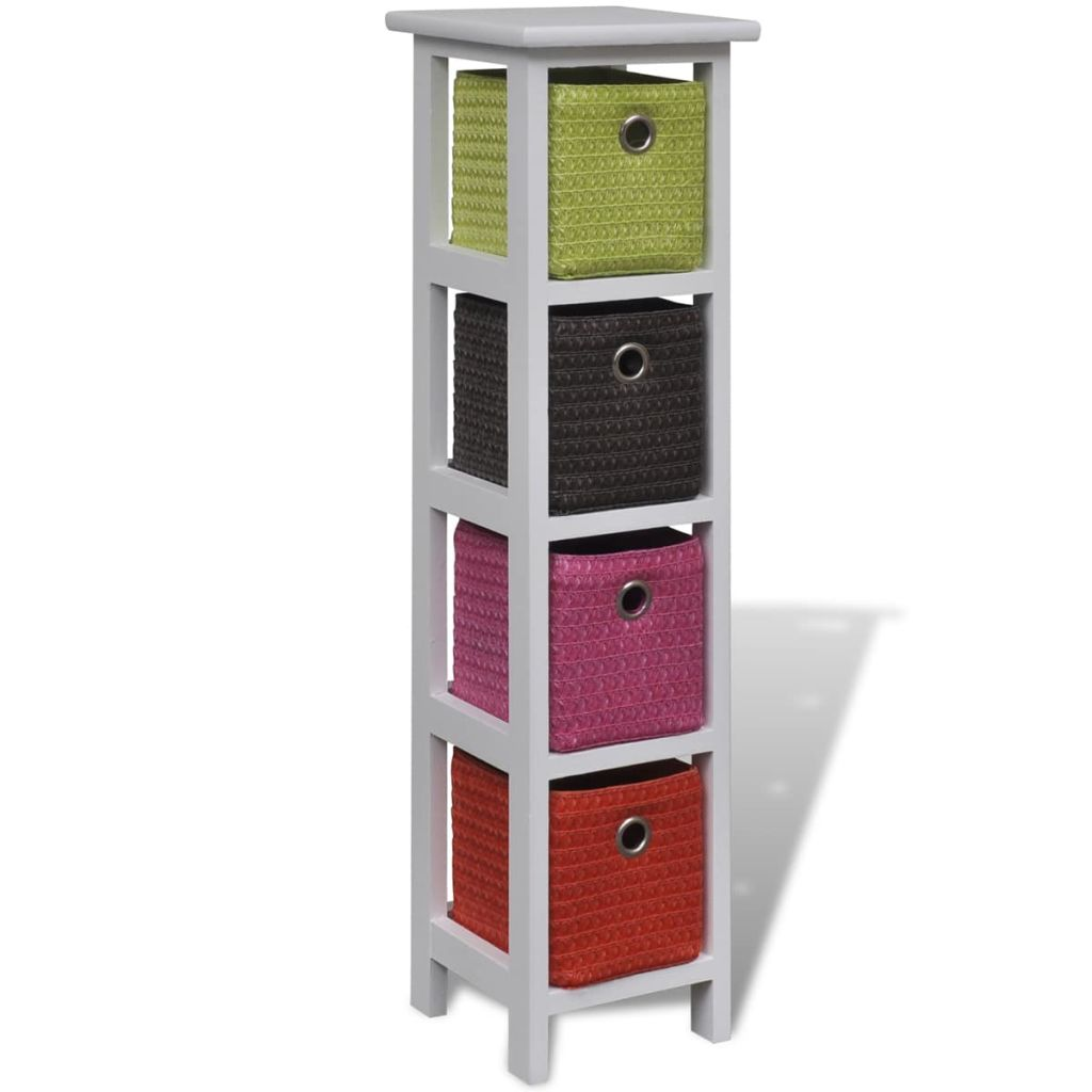 Storage Rack with Multi-colour Baskets Wood