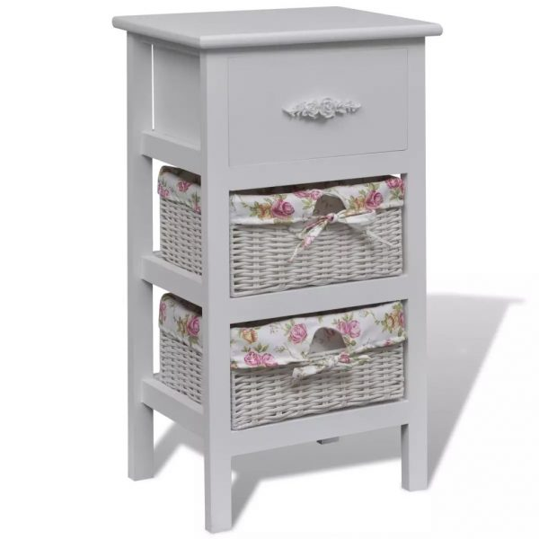 Cabinet with 1 Drawer and 2 Baskets White Wood 1