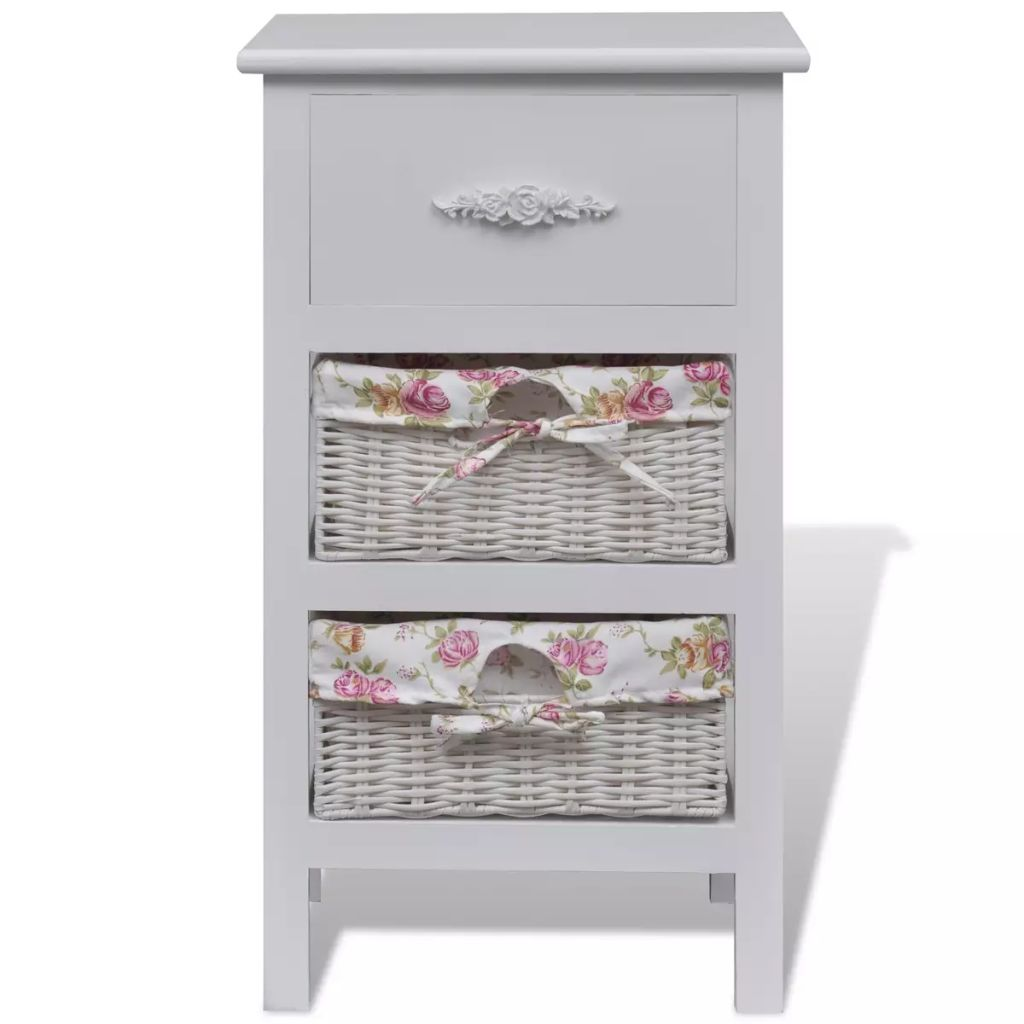 Cabinet with 1 Drawer and 2 Baskets White Wood 2