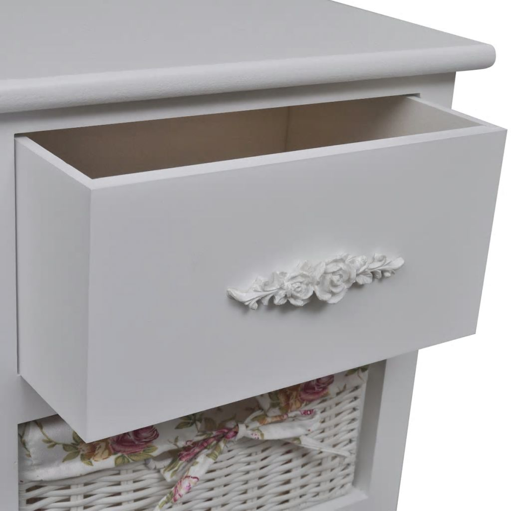 Cabinet with 1 Drawer and 2 Baskets White Wood 4