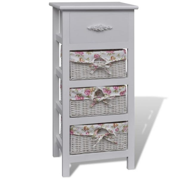 Cabinet with 1 Drawer and 3 Baskets White Wood 2