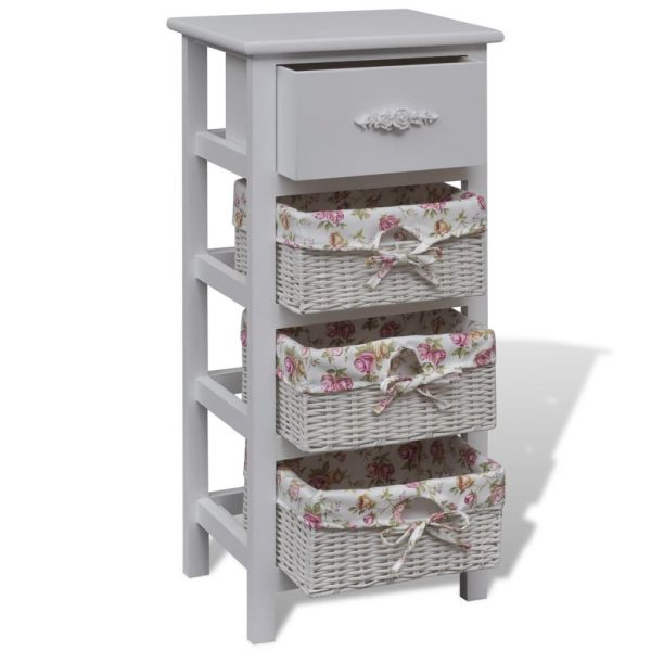 Cabinet with 1 Drawer and 3 Baskets White Wood 3