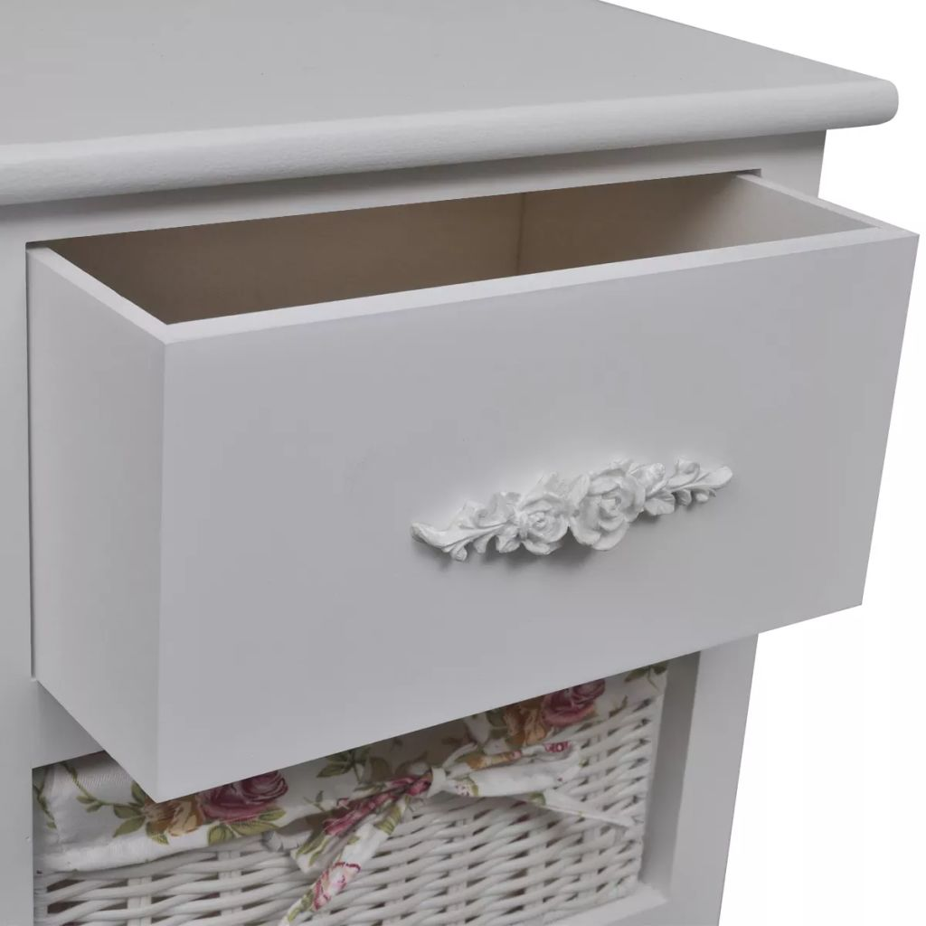 Cabinet with 1 Drawer and 3 Baskets White Wood 4