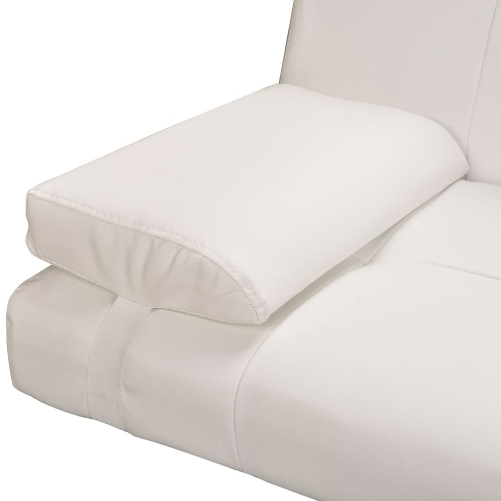 Sofa Bed with Two Pillows Artificial Leather Adjustable Cream White 7