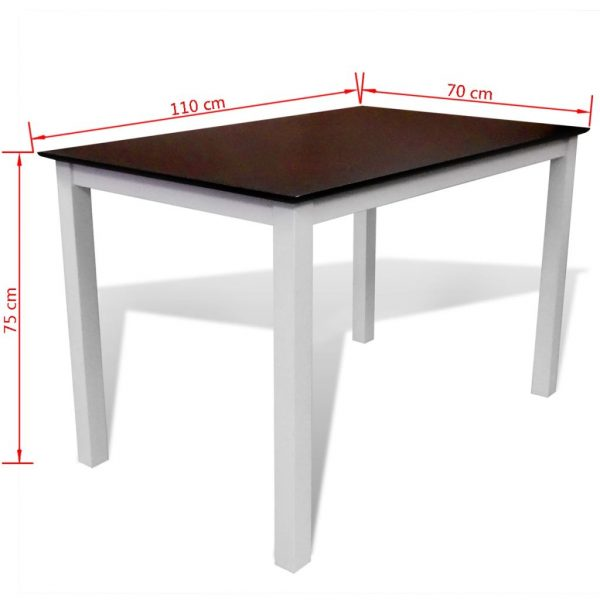 Dining Table 110 cm Solid Wood Brown and White 3