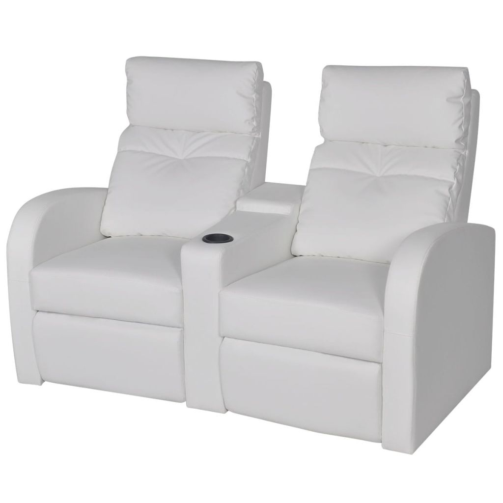 Recliner 2-seat Artificial Leather White 1