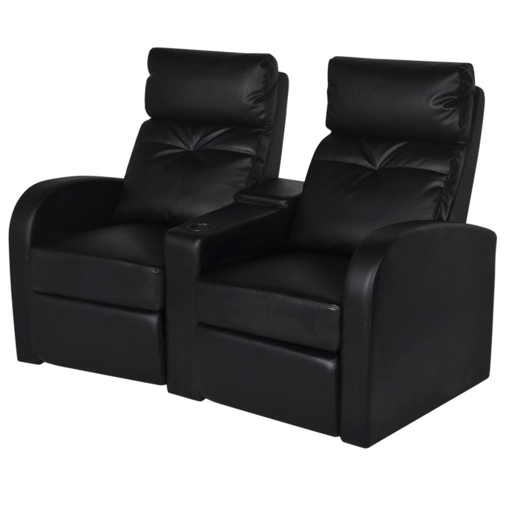 Recliner 2-seat Artificial Leather Black