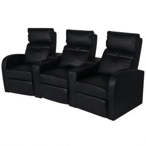 Recliner 3-seat Artificial Leather Black