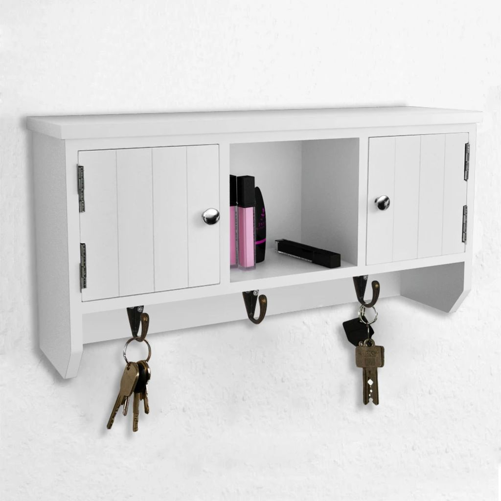 Wall Cabinet for Keys and Jewelery with Doors and Hooks 3