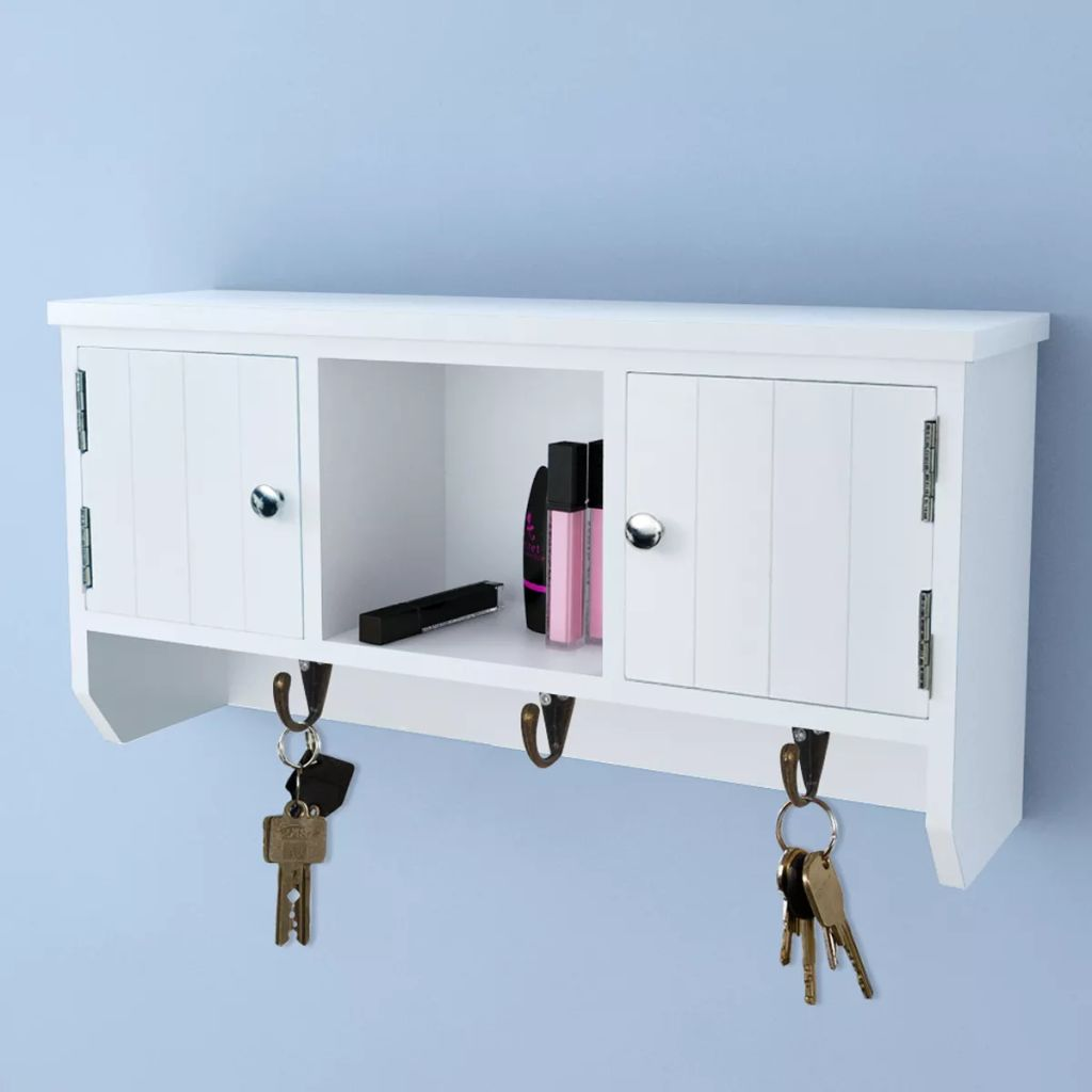 Wall Cabinet for Keys and Jewelery with Doors and Hooks 1