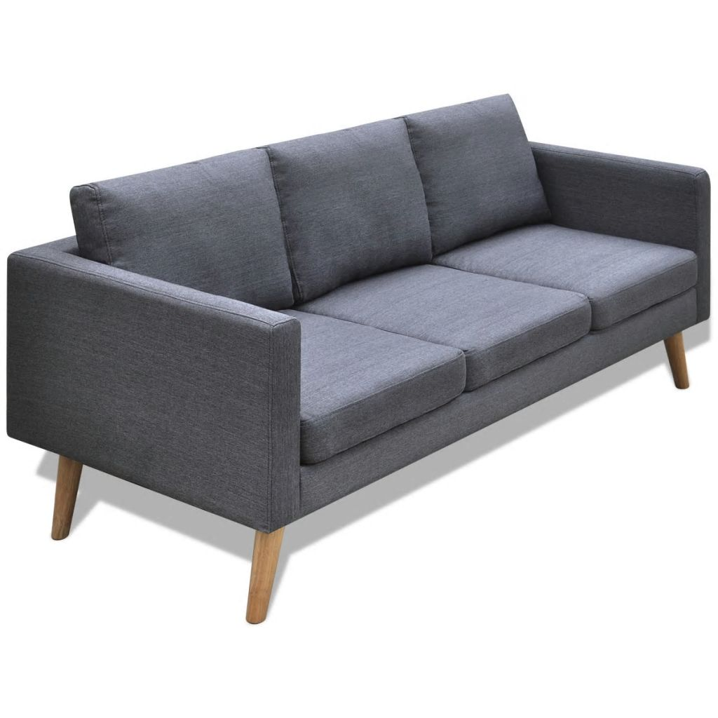 Sofa 3-Seater Fabric Dark Grey