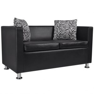 Sofa 2-Seater Artificial Leather Black