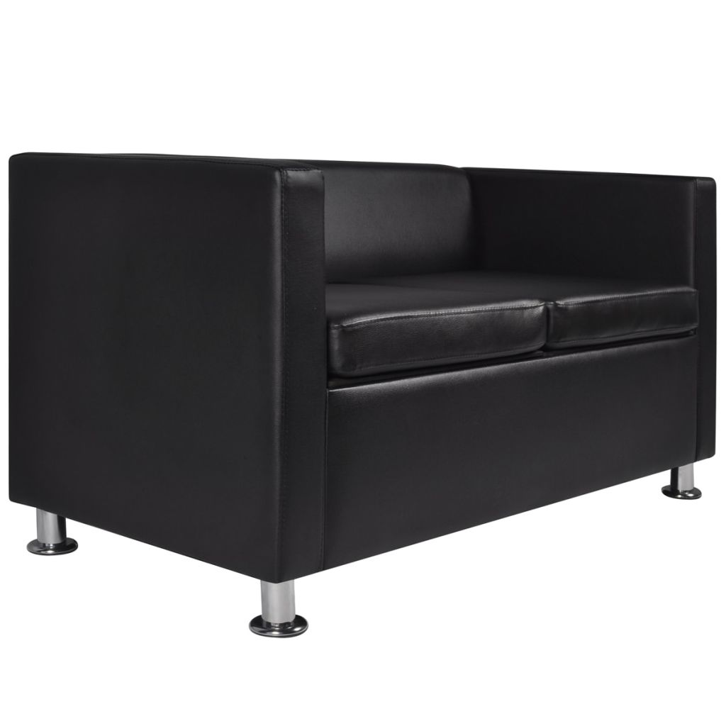 Sofa 2-Seater Artificial Leather Black 4