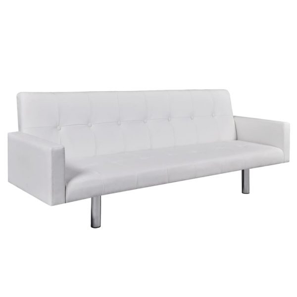 Sofa Bed with Armrest White Artificial Leather 1