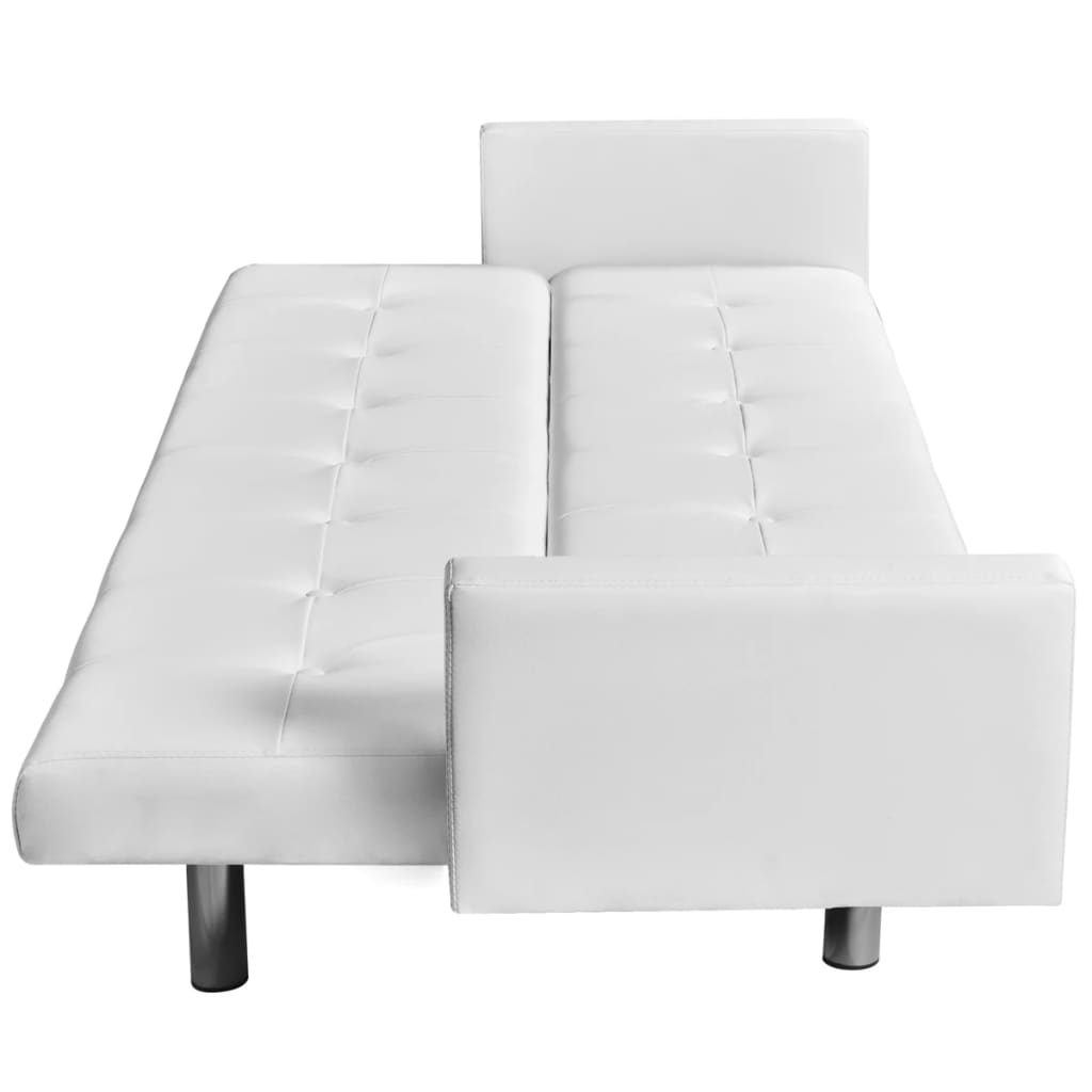 Sofa Bed with Armrest White Artificial Leather 3