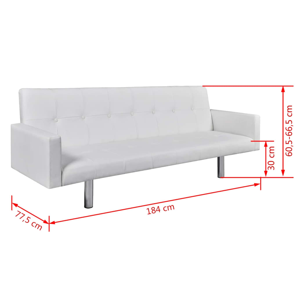 Sofa Bed with Armrest White Artificial Leather 6