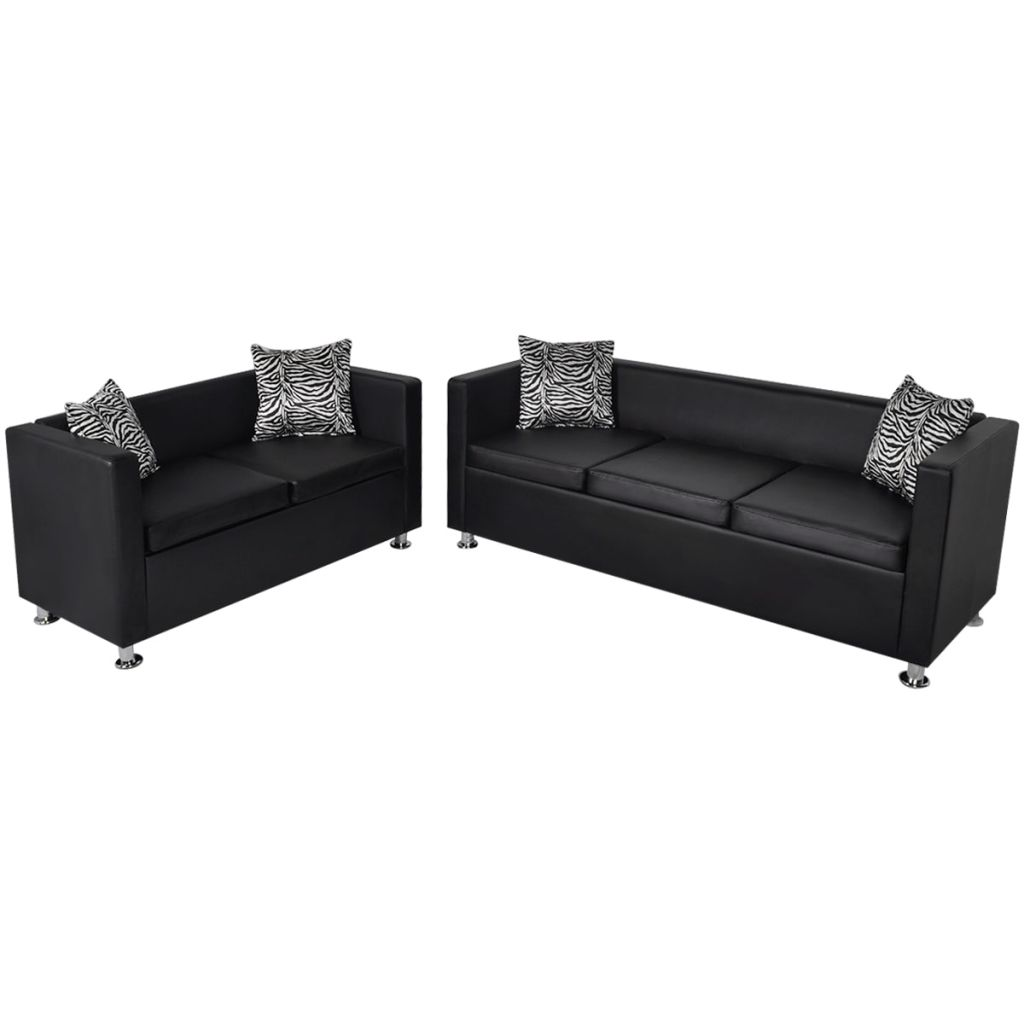 Sofa Set Artificial Leather 3-Seater and 2-Seater Black