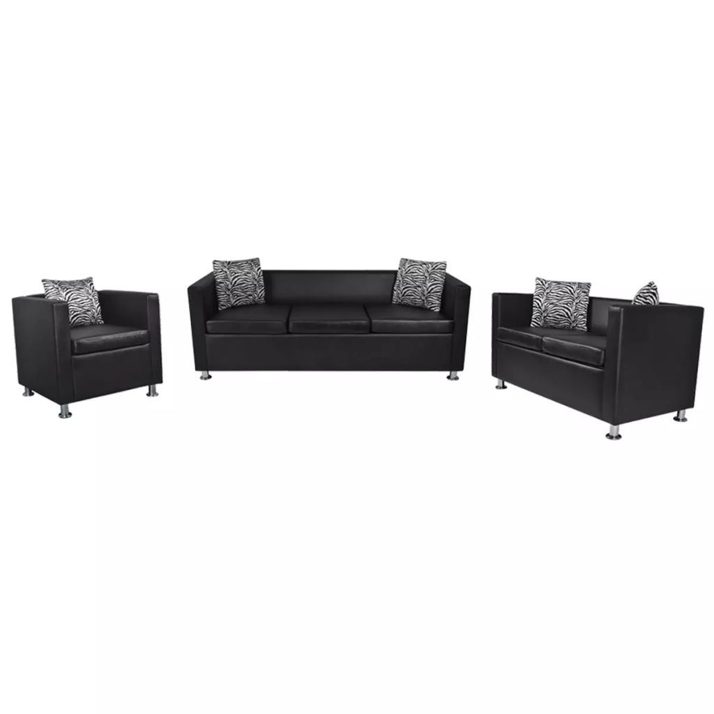 Sofa Set Artificial Leather 3-Seater 2-Seater Armchair Black
