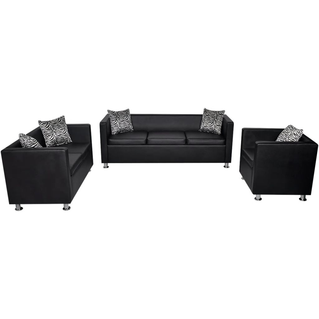 Sofa Set Artificial Leather 3-Seater 2-Seater Armchair Black 2