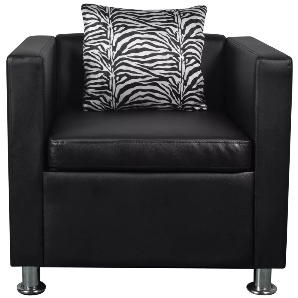 Sofa Set Artificial Leather 3-Seater 2-Seater Armchair Black 11