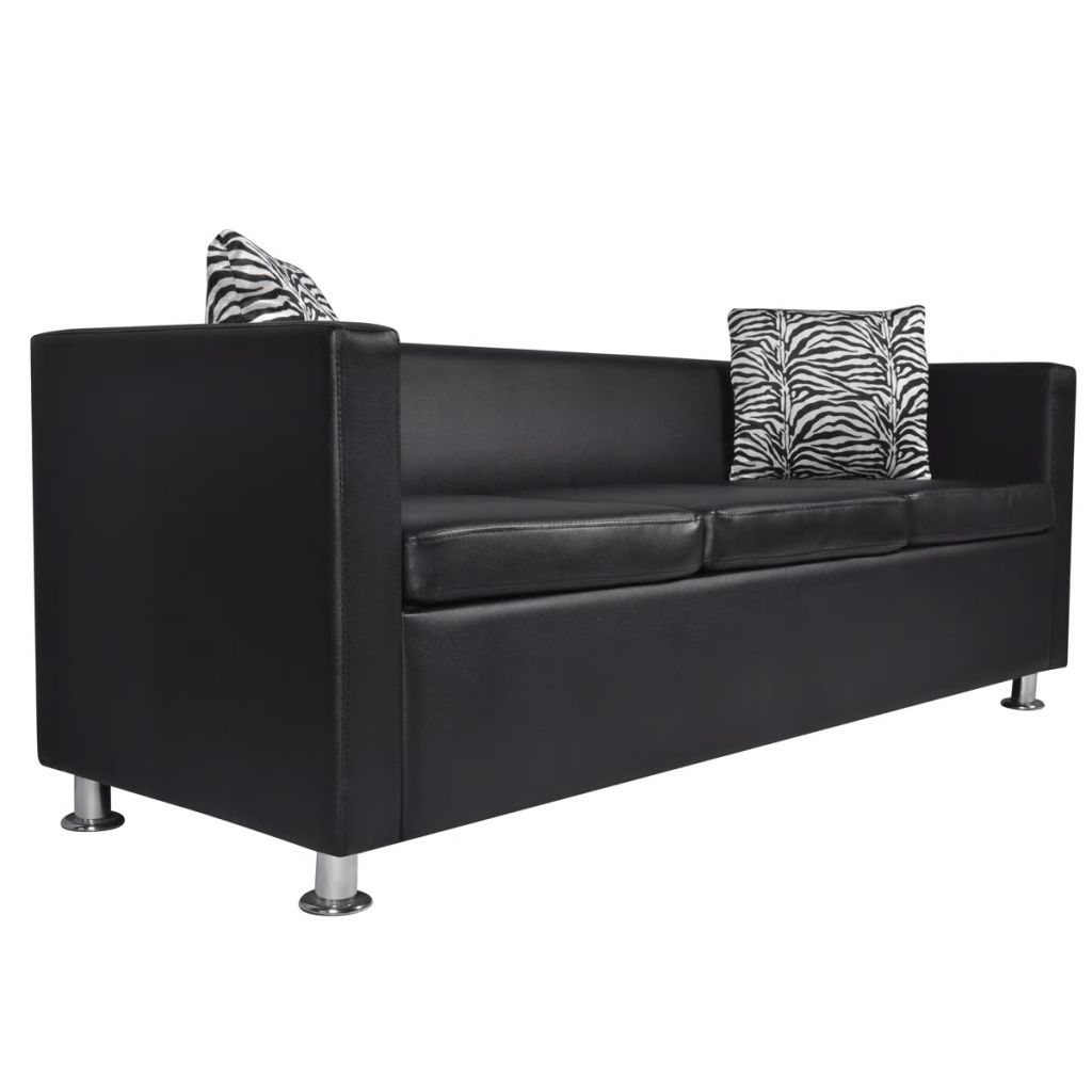Sofa Set Artificial Leather 3-Seater 2-Seater Armchair Black 4