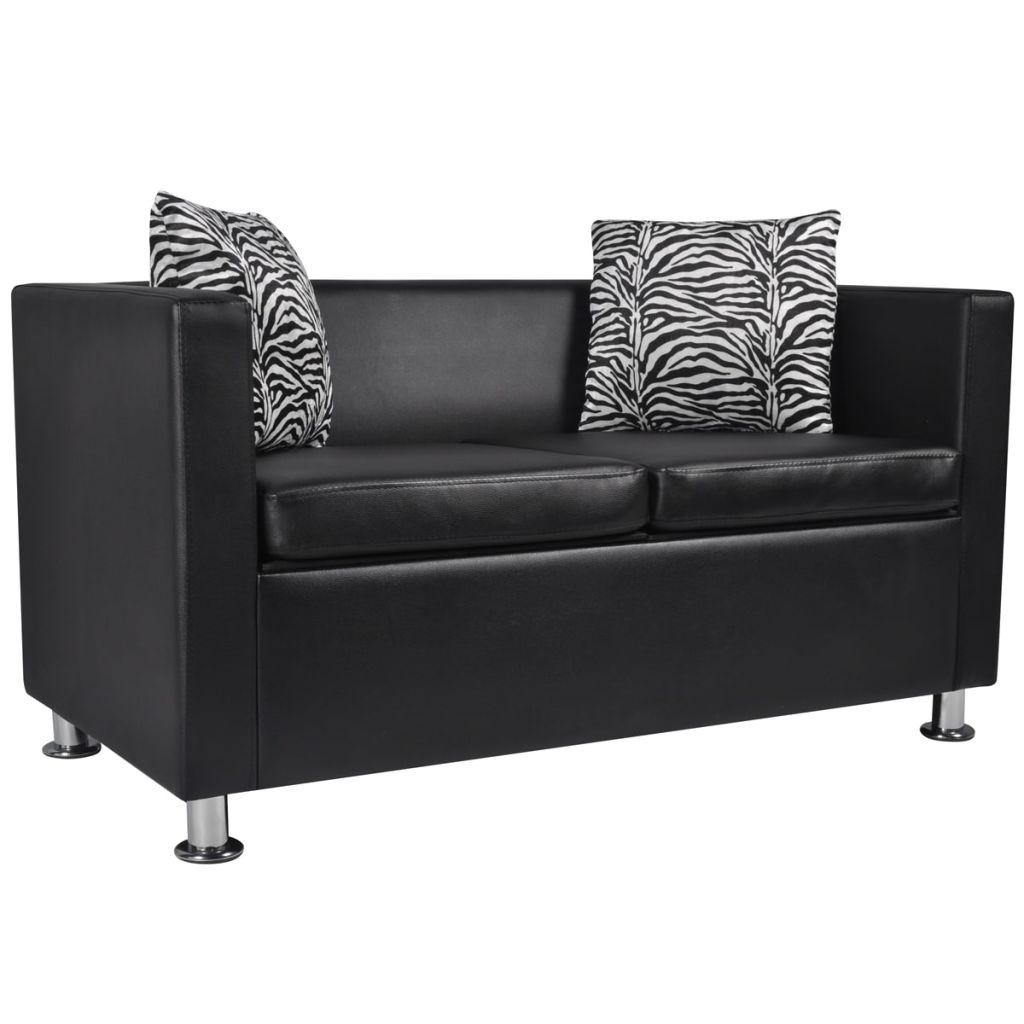 Sofa Set Artificial Leather 3-Seater 2-Seater Armchair Black 8
