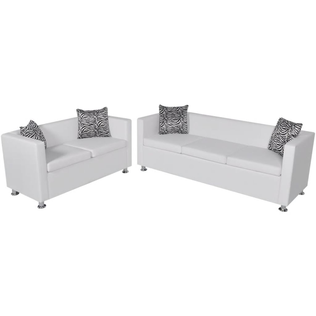Sofa Set Artificial Leather 3-Seater and 2-Seater White