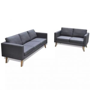 Sofa Set 2-Seater and 3-Seater Fabric Dark Grey