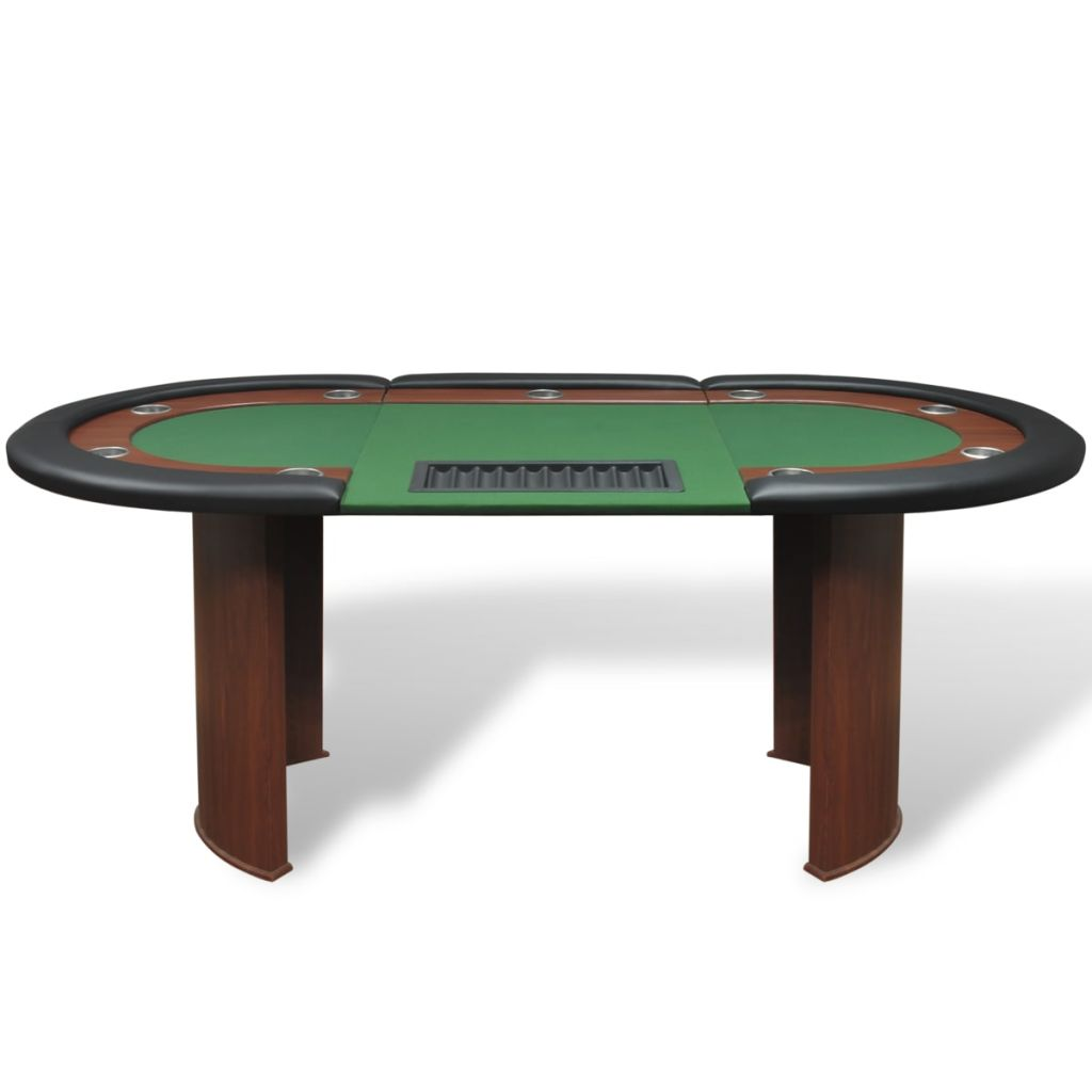 10-Player Poker Table with Dealer Area and Chip Tray Green 2