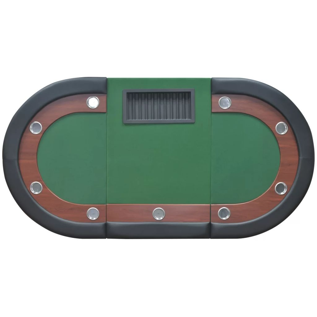 10-Player Poker Table with Dealer Area and Chip Tray Green 6