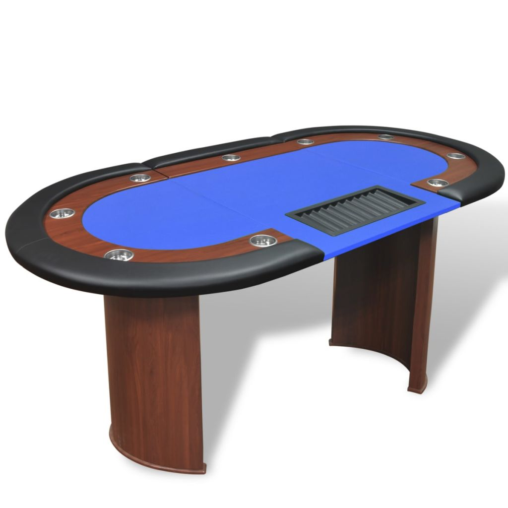 10-Player Poker Table with Dealer Area and Chip Tray Blue 1