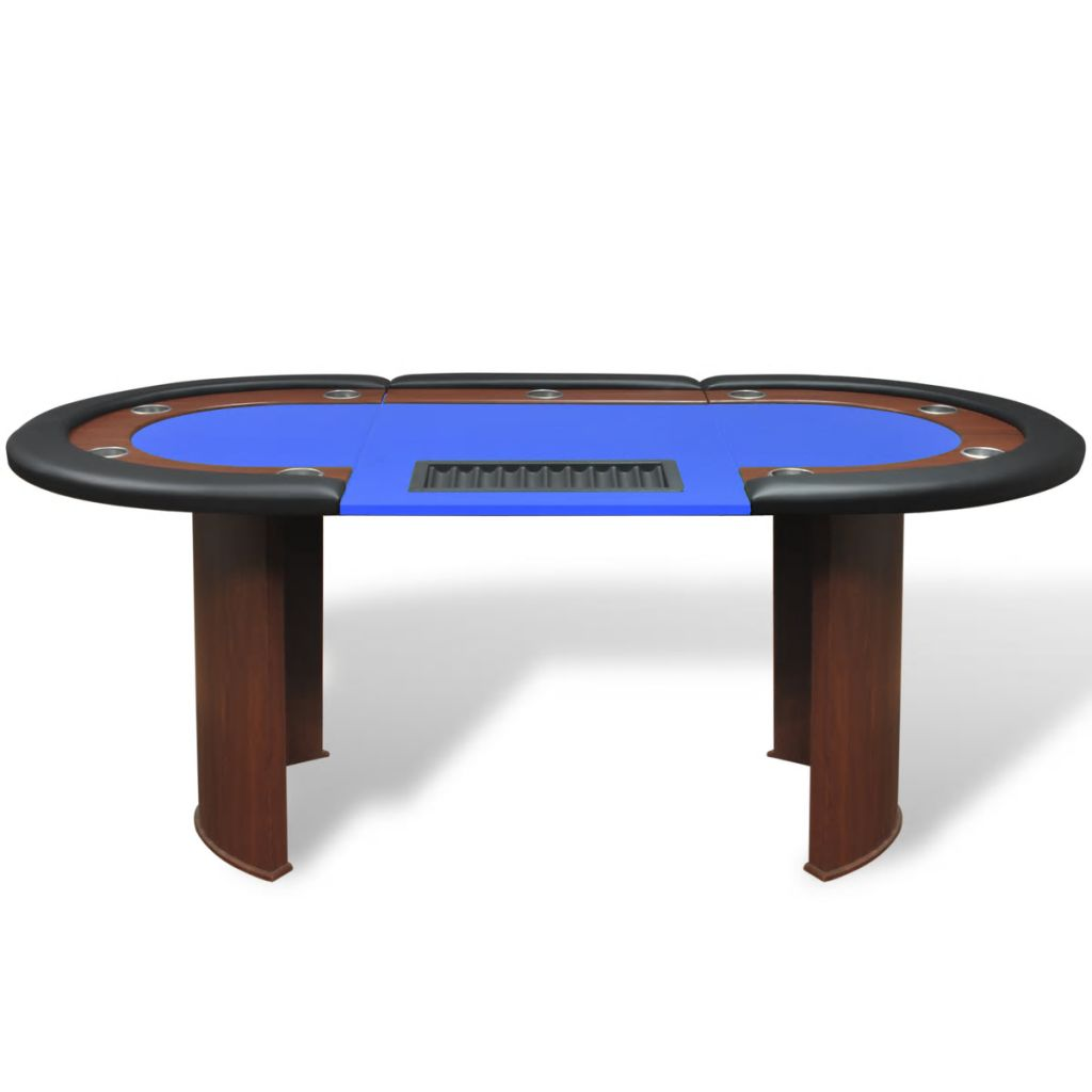 10-Player Poker Table with Dealer Area and Chip Tray Blue 2