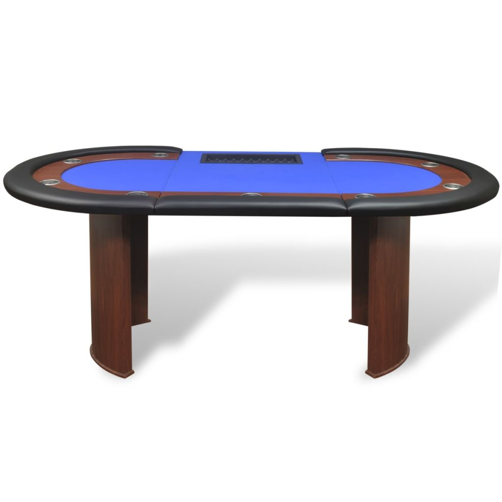 10-Player Poker Table with Dealer Area and Chip Tray Blue 3