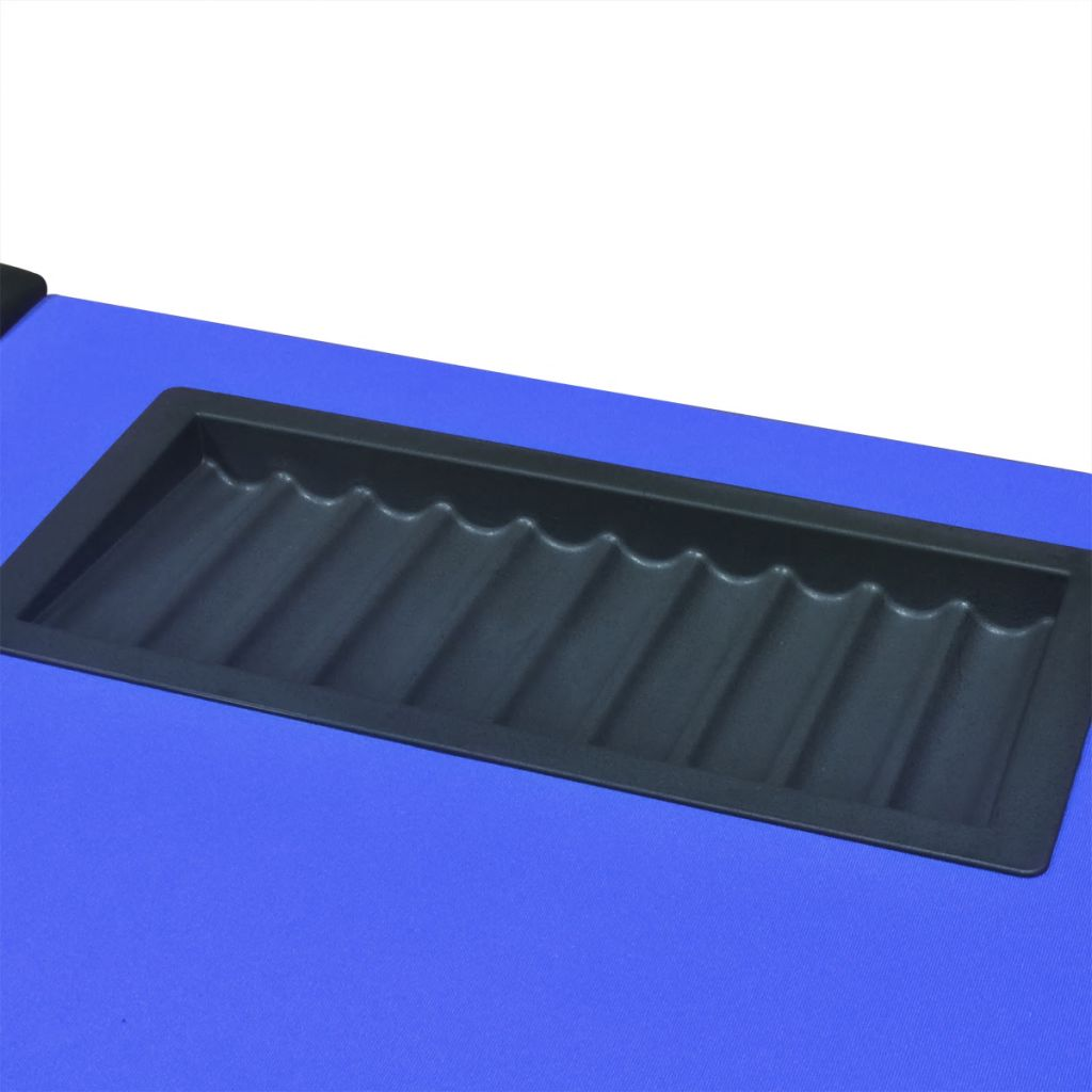 10-Player Poker Table with Dealer Area and Chip Tray Blue 7