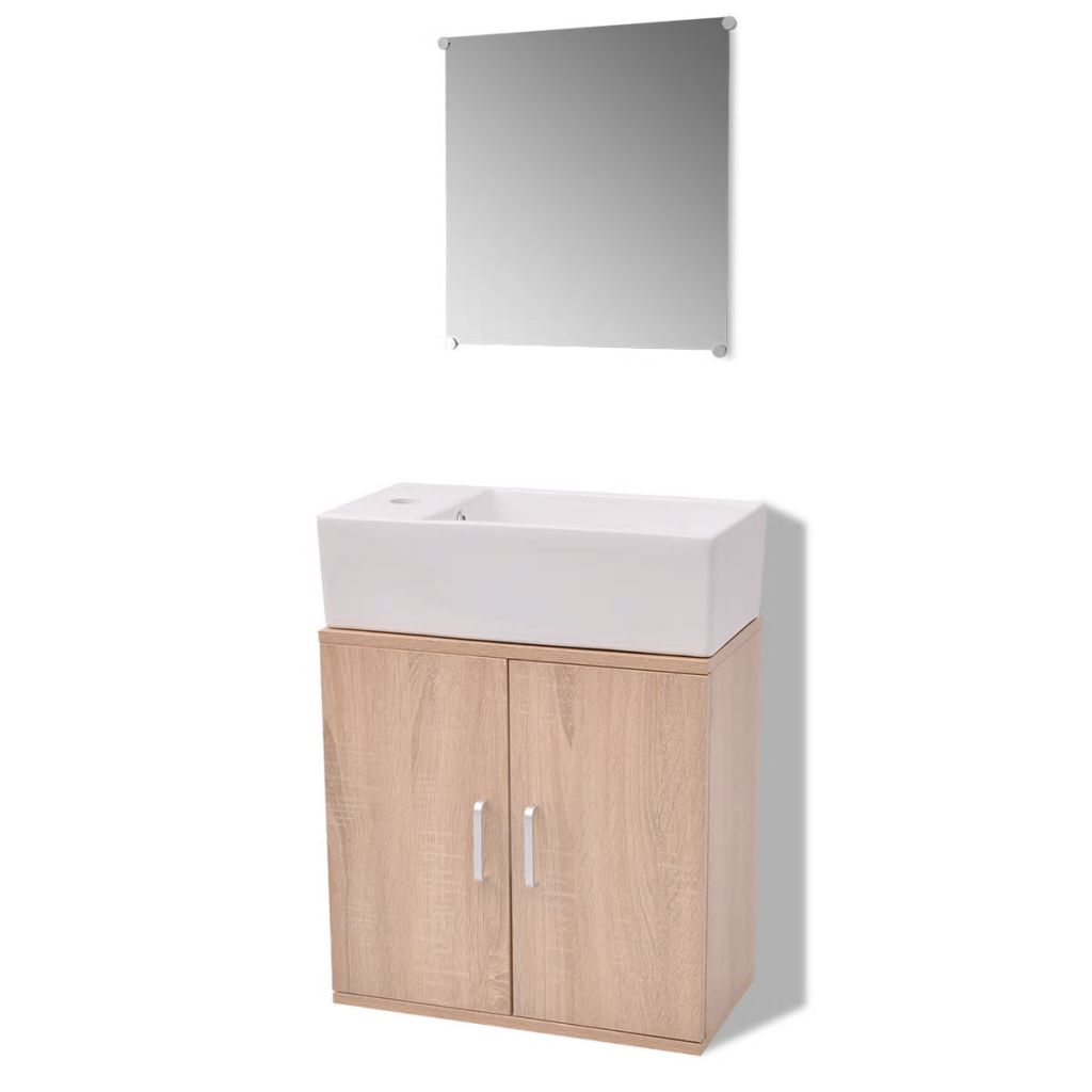 Three Piece Bathroom Furniture and Basin Set Beige 2