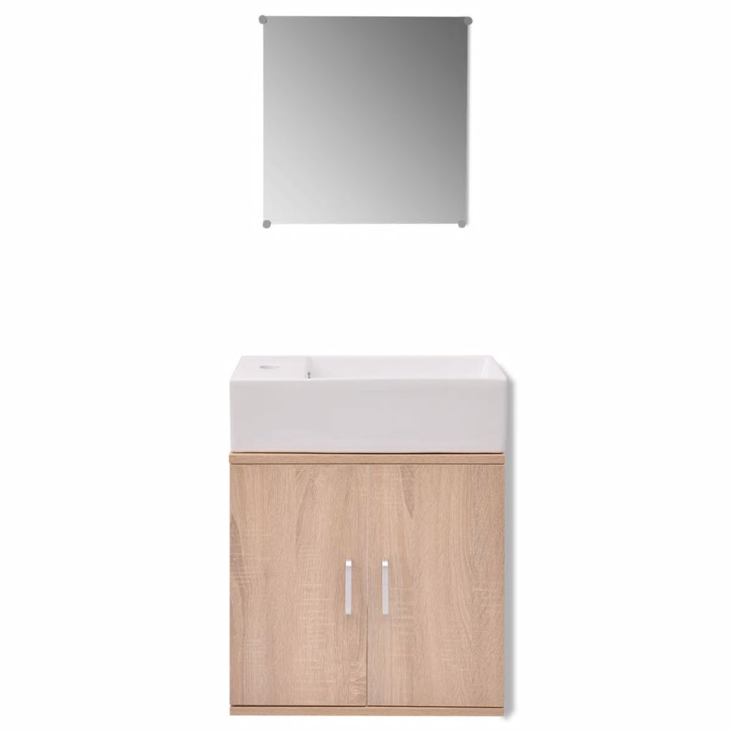 Three Piece Bathroom Furniture and Basin Set Beige 5