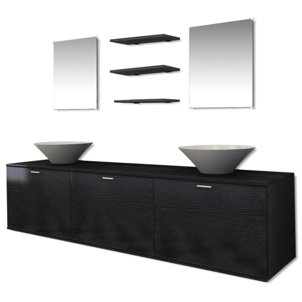 Eight Piece Bathroom Furniture and Basin Set Black 2