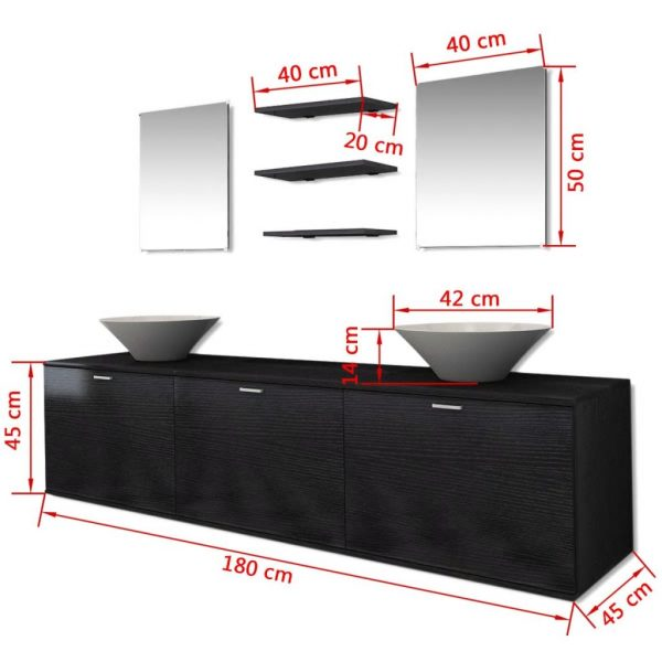 Eight Piece Bathroom Furniture and Basin Set Black 9