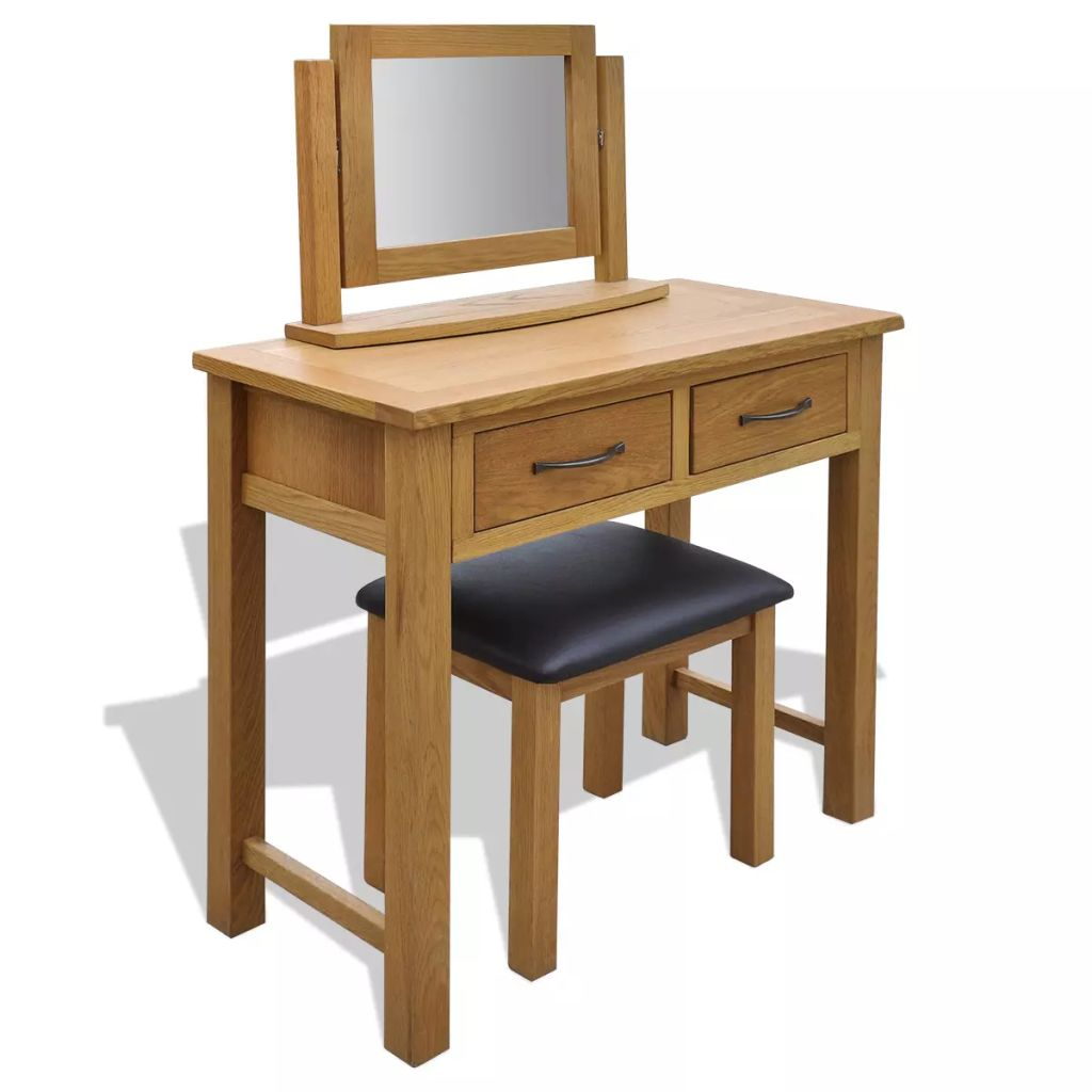 Dressing Table with Stool Solid Oak Wood