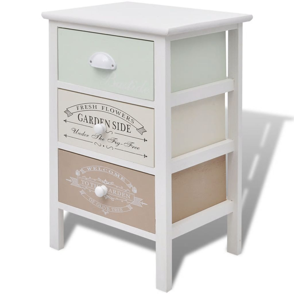French Storage Cabinet 3 Drawers Wood 2