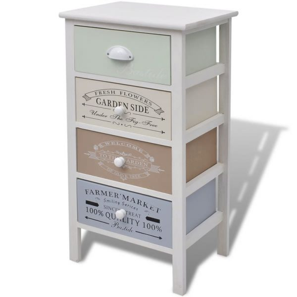 French Storage Cabinet 4 Drawers Wood 2